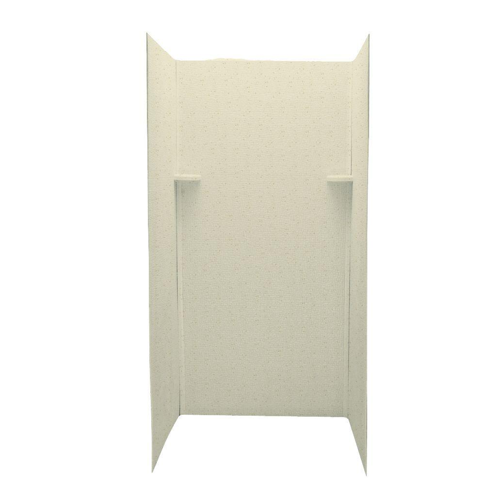 Swan Pebble 36 in. x 36 in. x 72 in. Three Piece Easy Up Adhesive Shower Wall Kit in Caraway Seed-DISCONTINUED