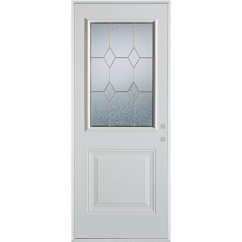 Stanley Doors 33.375 in. x 82.375 in. Geometric Brass 1/2 Lite 1-Panel Painted White Left-Hand Inswing Steel Prehung Front Door