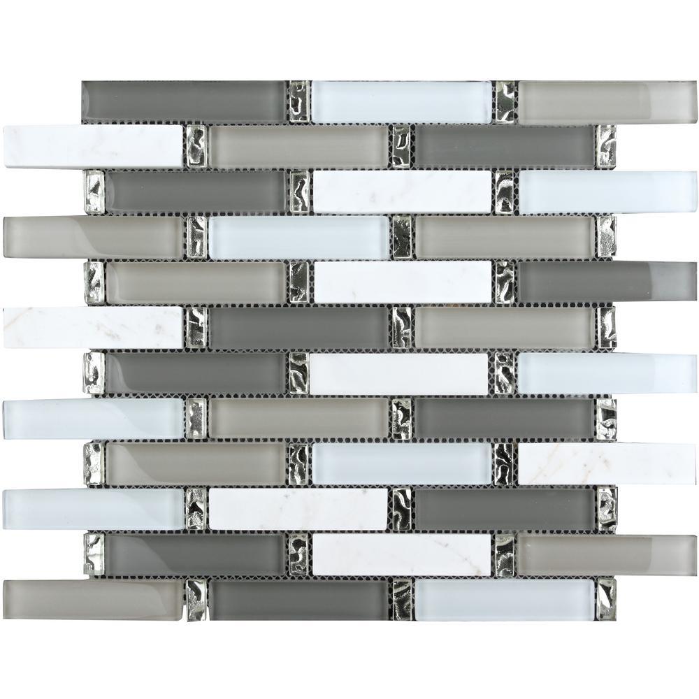 CHENX 1181 in x 1358 in x 8 mm Glass and Stone Backsplash in