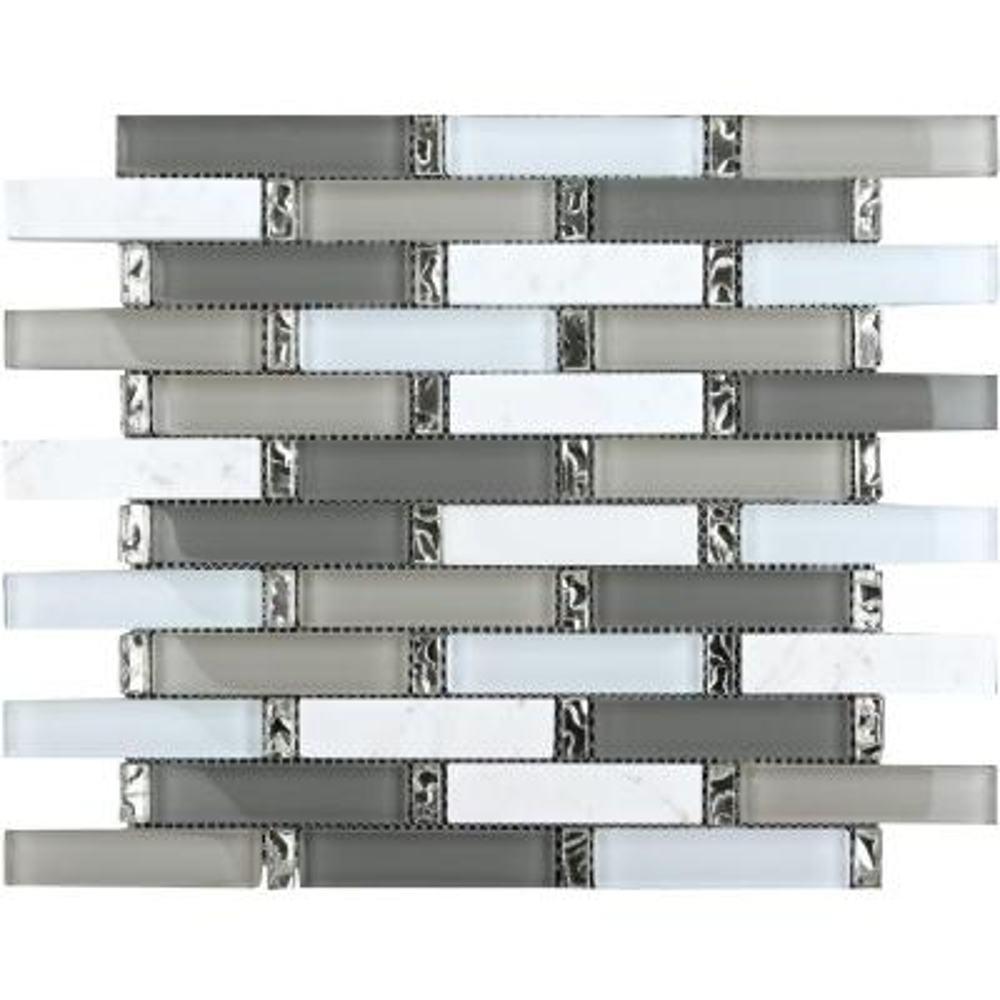 CHENX 11.81 in. x 13.58 in. x 8 mm Glass and Stone Backsplash in Multi Color (13.49 sq. ft. / case)
