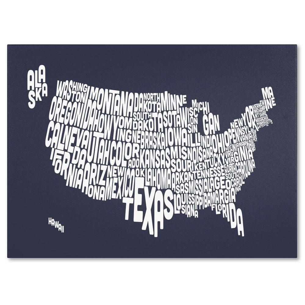 null 14 in. x 19 in. USA States Text Map - Slate Canvas Art