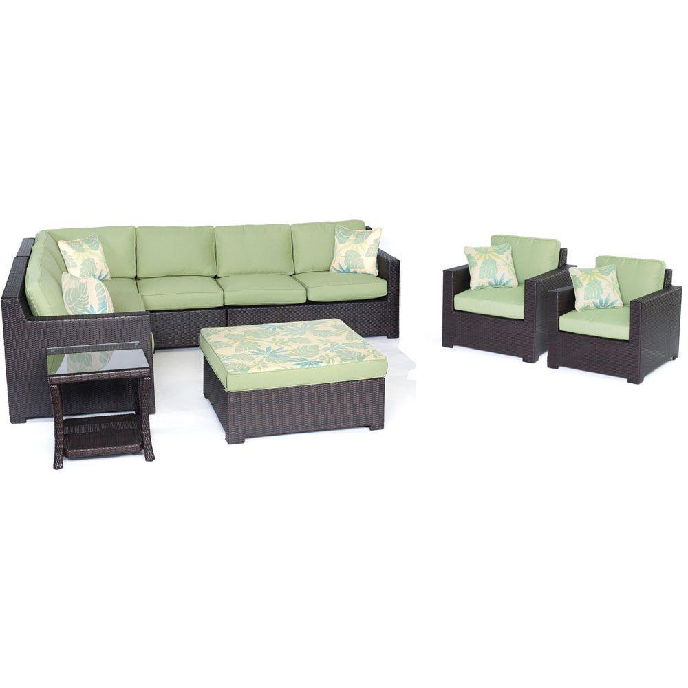 Metropolitan Brown 8 Piece All Weather Wicker Patio Deep Seating Set With  Avocado Green