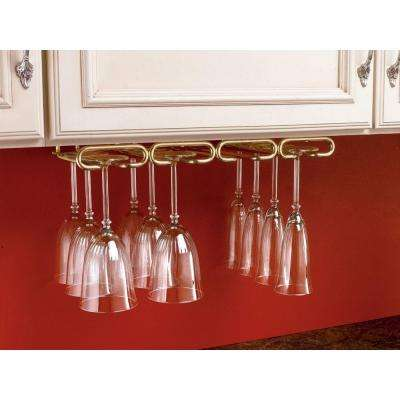 1.5 in. H x 17 in. W x 11 in. D Brass Under Cabinet Quad Wine Glass Holder