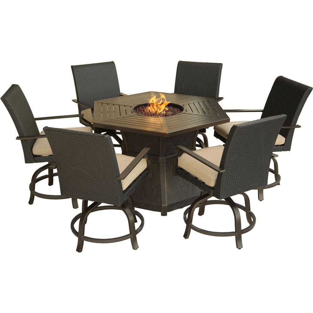 Hanover aspen creek 7 piece patio fire pit dining set with for Porch table and chair set