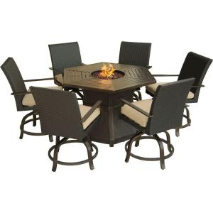 Hanover Aspen Creek 7-Piece Patio Fire Pit Dining Set with Natural Oat Cushions