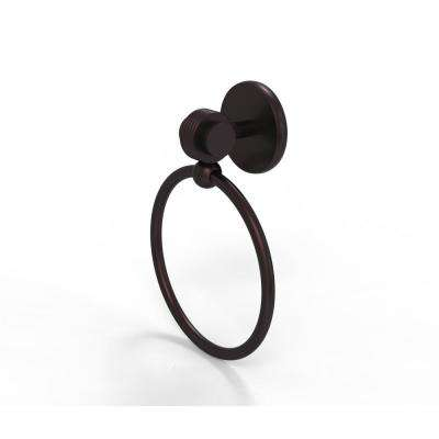 Satellite Orbit Two Collection Towel Ring with Groovy Accent in Antique Bronze