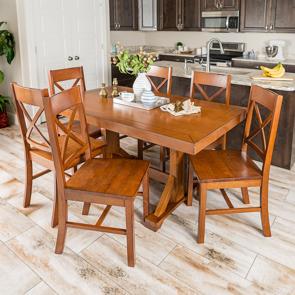 Walker edison furniture company millwright 7 piece antique brown wood dining set