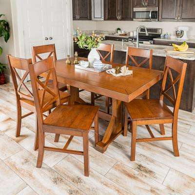 Millwright 7-Piece Antique Brown Wood Dining Set