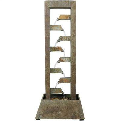 49 in. Stacked Slate Freestanding Garden Water Fountain