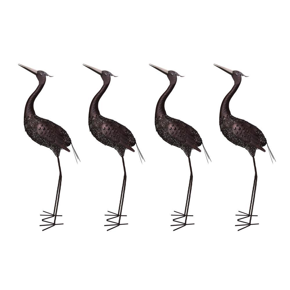 42 in. Steel Indoor/Outdoor Animal Garden Upward Facing Crane Metal Bird Sculpture Statue with Solar Light (4-Pack)