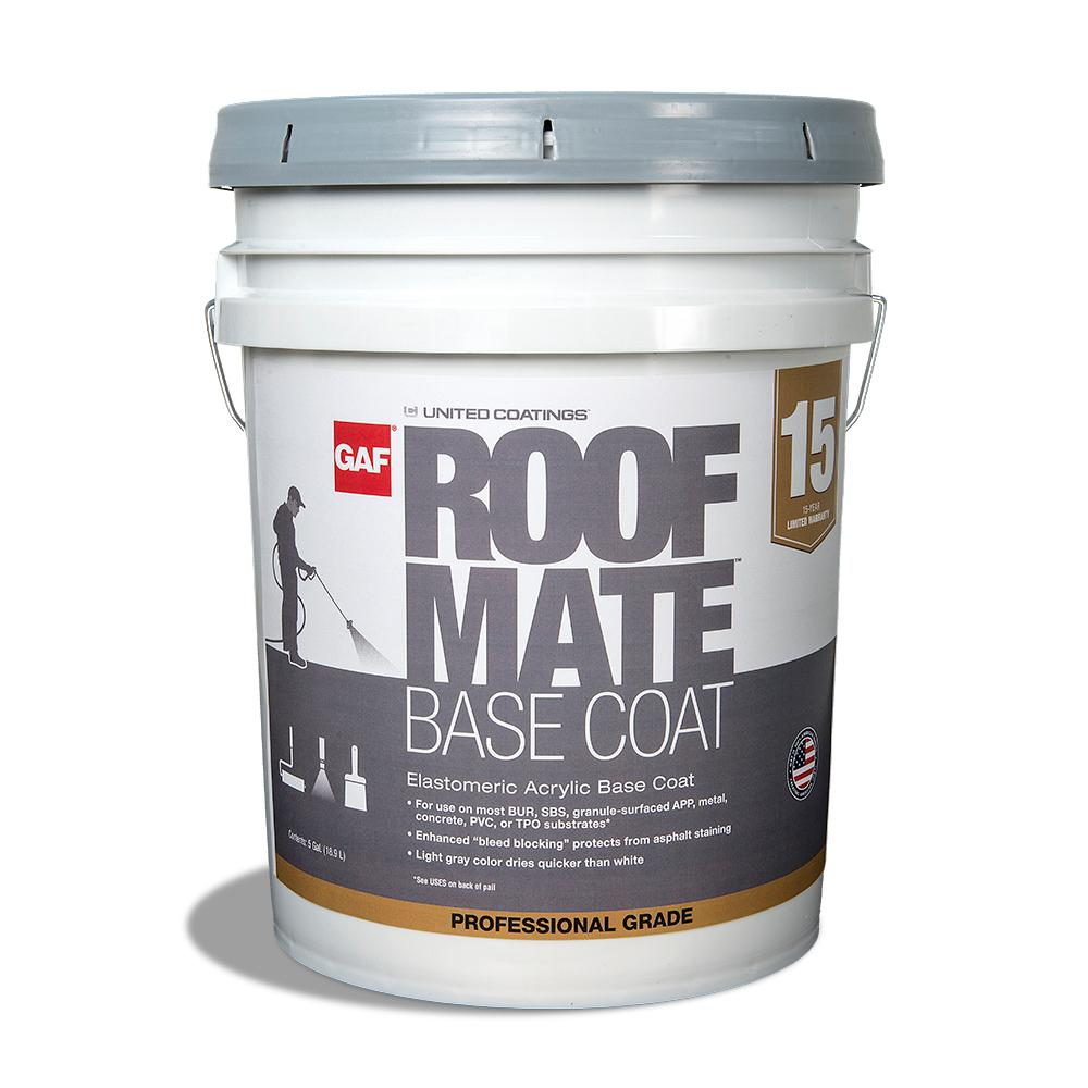 Gray Roof Paint: GAF 5 Gal. Light Gray Roof Mate Base Coat Reflective Roof