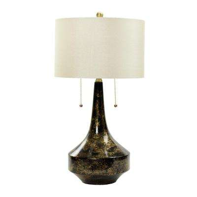 Floating Gold on Black Ceramic Table Lamp - Black - Pull Chain - Table Lamps - Lamps - The Home Depot