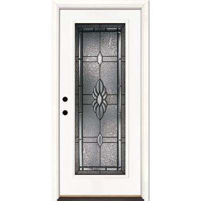 33.5 in. x 81.625 in. Sapphire Patina Full Lite Unfinished Smooth Right-Hand Inswing Fiberglass Prehung Front Door