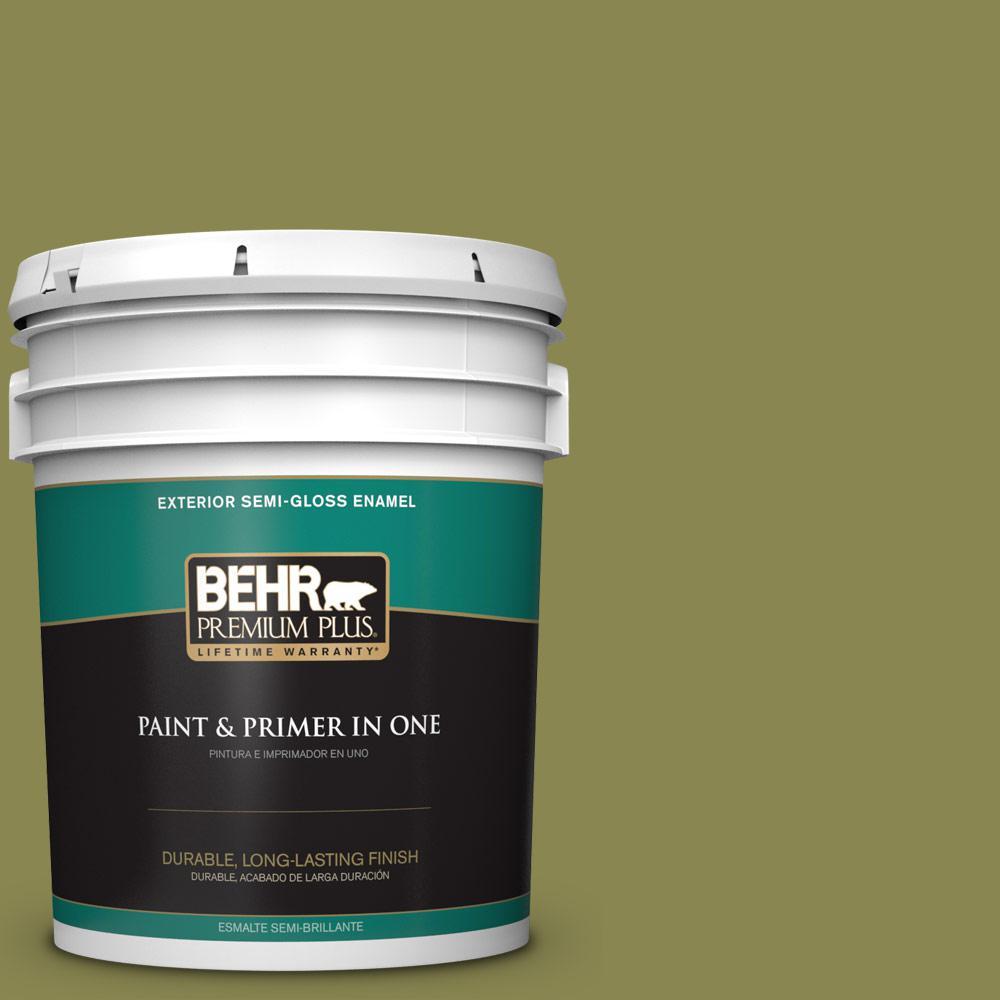 5-gal. #T15-18 Snap Pea Green Semi-Gloss Enamel Exterior Paint