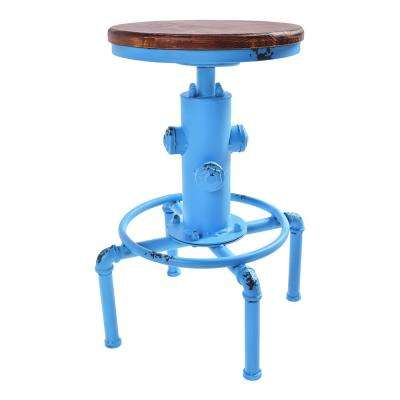 Sycamore 25-29 in. Antique Blue Adjustable Barstool and Ash Wood Seat