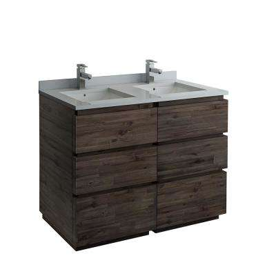 Formosa 48 in. Modern Double Vanity in Warm Gray with Quartz Stone Vanity Top in White with White Basins