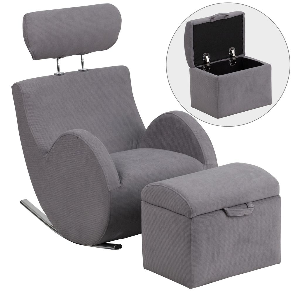 Flash Furniture Hercules Series Gray Fabric Rocking Chair With Storage  Ottoman LD2025GYFAB   The Home Depot