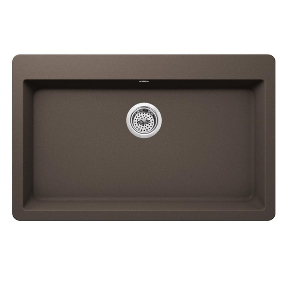 Dual Mount Quartz 33 in. Single Bowl Kitchen Sink in Mocha