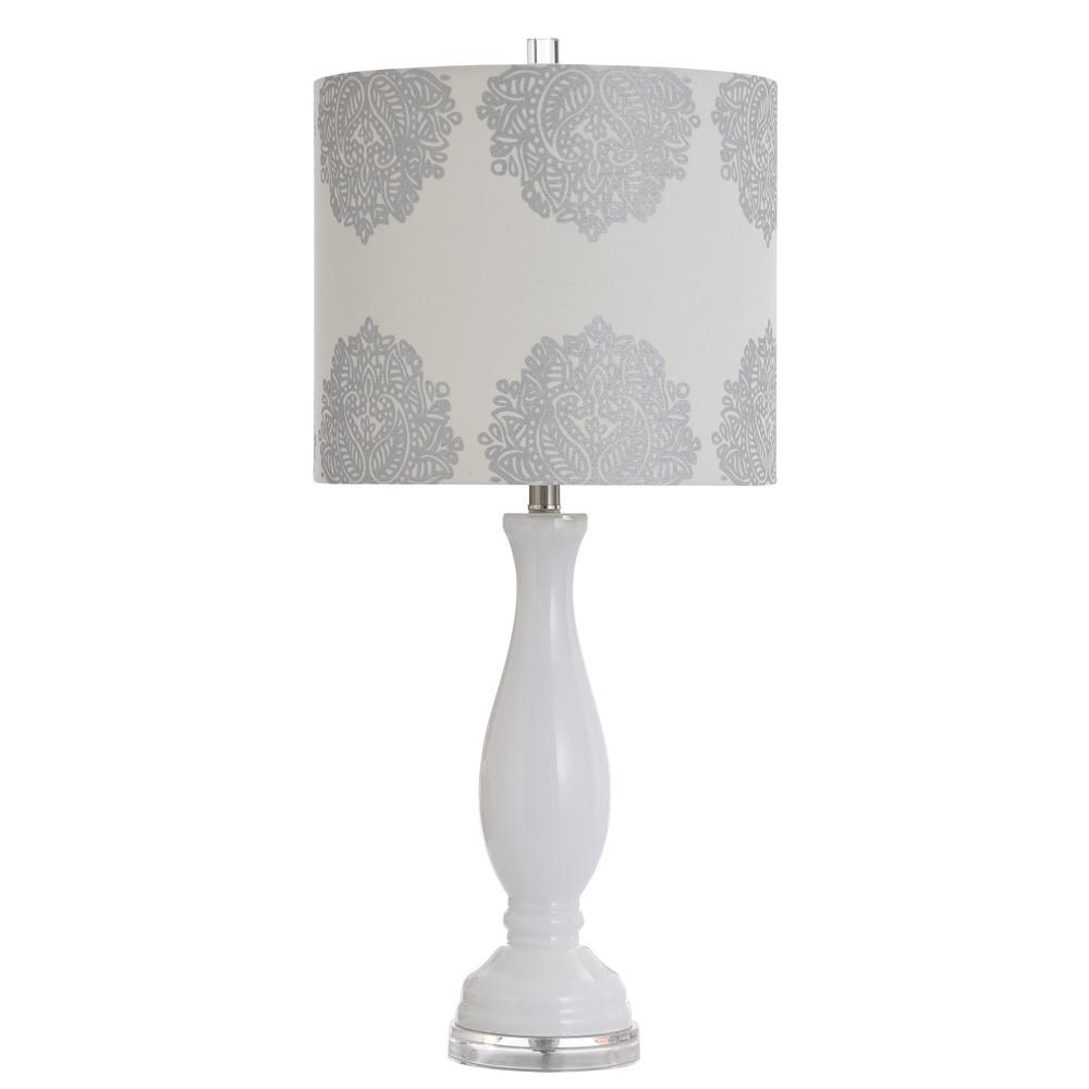 Stylecraft 32 In White Table Lamp With Silver Hardback Linen Shade