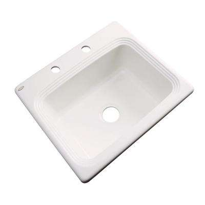 Rochester Drop-In Acrylic 25 in. 2-Hole Single Bowl Kitchen Sink in Biscuit