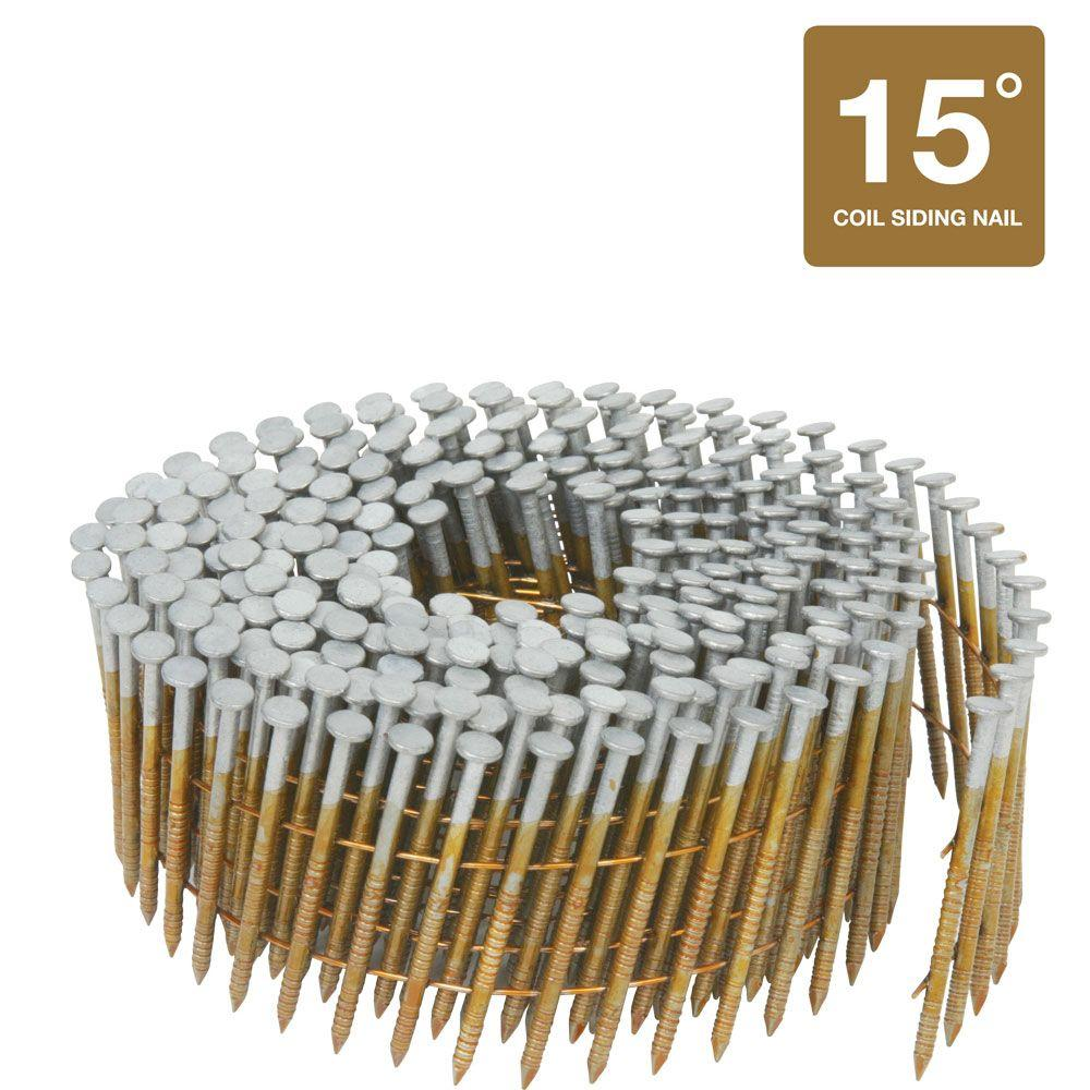 Hitachi 2-1/4 in. x 0.092 in. Full Round-Head Ring Shank Hot-Dipped Galvanized Wire Coil Siding Nails (3,600-Pack)