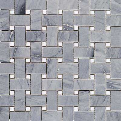 Basket Weave Burlington Gray and White Thassos Basketweave 12 in. x 12 in.  Marble Mosaic Tile