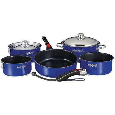 Ceramica Non-Stick 10-Piece Induction Compatible Nesting Cookware Set in Cobalt Blue Finish