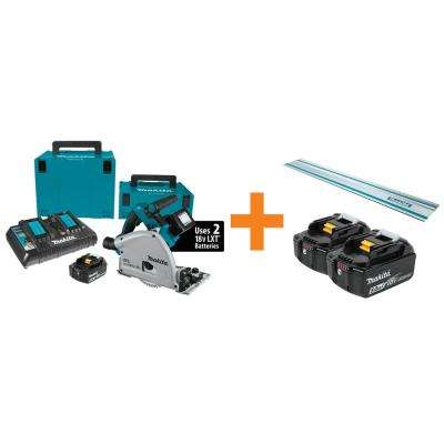 18V X2 LXT Lithium-Ion (36V) Brushless Cordless 6-1/2 in. Plunge CircularSaw Kit w/BONUS 5.0Ah Battery 2Pk and GuideRail