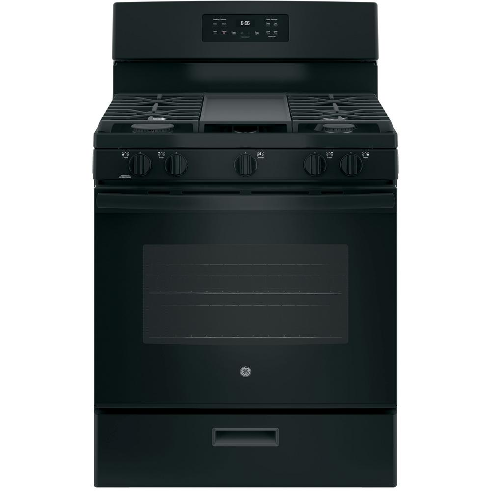 30 in. 5.0 cu. ft. Gas Range in Black Your GE 30 in. 5.0 cu. ft. Gas Range in Black has a Precise Simmer burner to allow cooking of delicate foods with low, even heat. This four-burner range with Broiler Drawer gives you enough room to cook an entire meal at once. Electronic Touch oven controls let you to set temperatures easily for any baking/roasting functions. The one-piece upswept cooktop makes cleanups easy. GE appliances provide up-to-date technology and exceptional quality to simplify the way you live. With a timeless appearance, this family of appliances adds allure and functionality to any kitchen. And, coming from one of the most trusted names in America, you know that this entire selection of appliances is as advanced as it is practical.