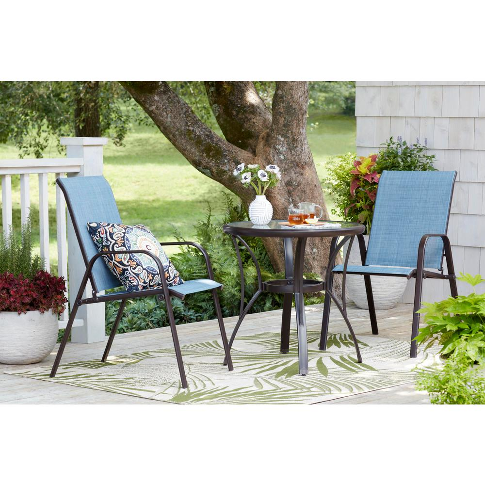 Mix And Match Brown Stackable Sling Outdoor Dining Chair In Conley Denim 2 Pack