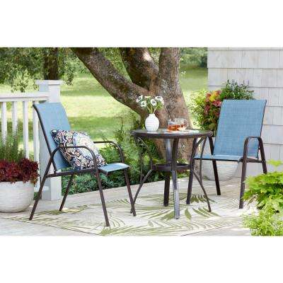 Mix and Match Brown Stackable Sling Outdoor Dining Chair in Conley Denim (2-Pack)