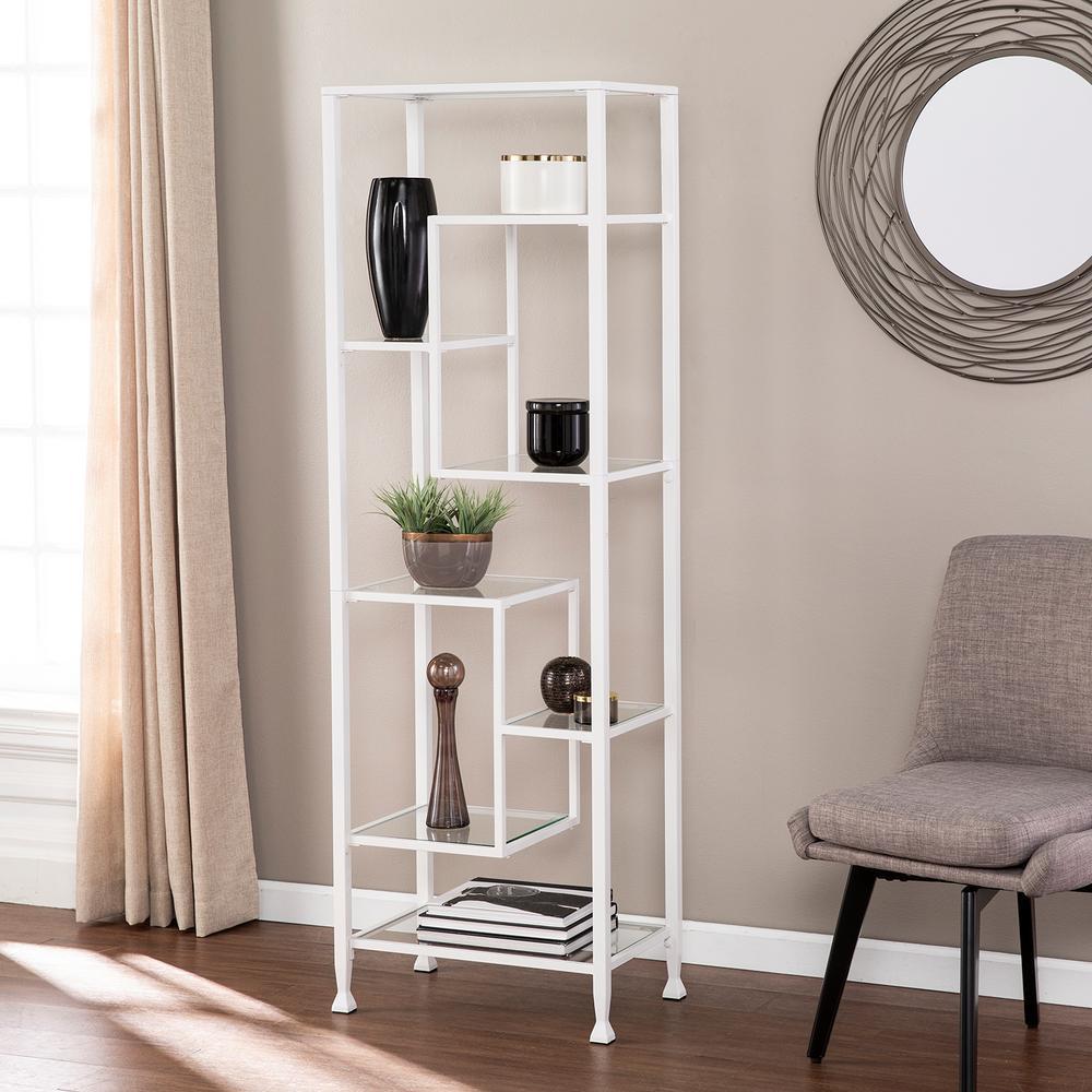 Galena White Metal/Glass Asymmetrical Etagere