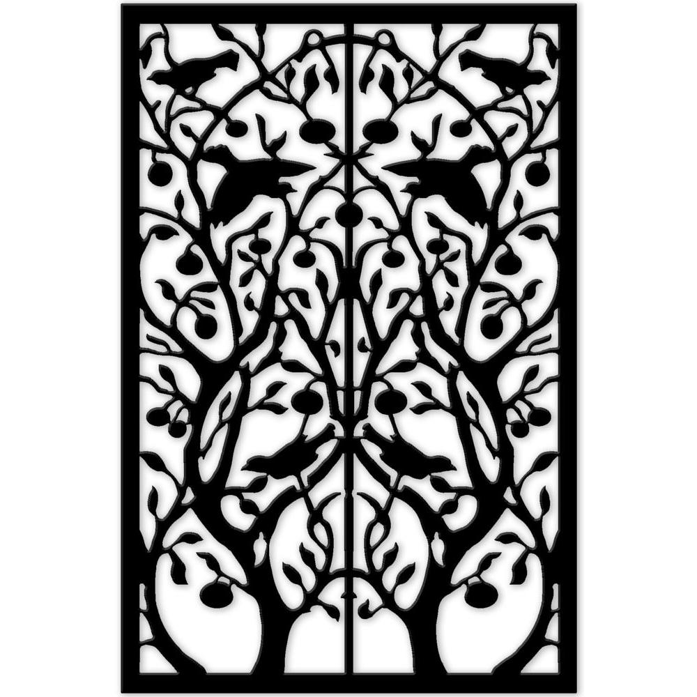 Acurio Latticeworks Tree Of Life 32 In X 4 Ft Black