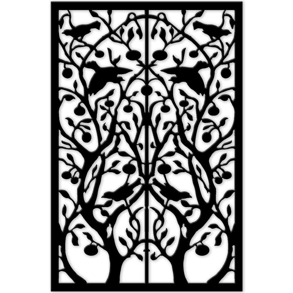 Tree of Life 32 in. x 4 ft. Black Vinyl Decorative Screen Panel