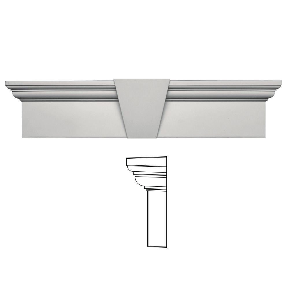 Builders Edge 9 in. x 37-5/8 in. Flat Panel Window Header with Keystone in 030 Paintable