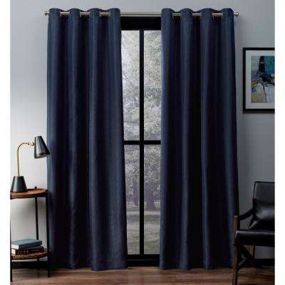 Eglinton 52 in. W x 96 in. L Woven Blackout Grommet Top Curtain Panel in Indigo (2 Panels)
