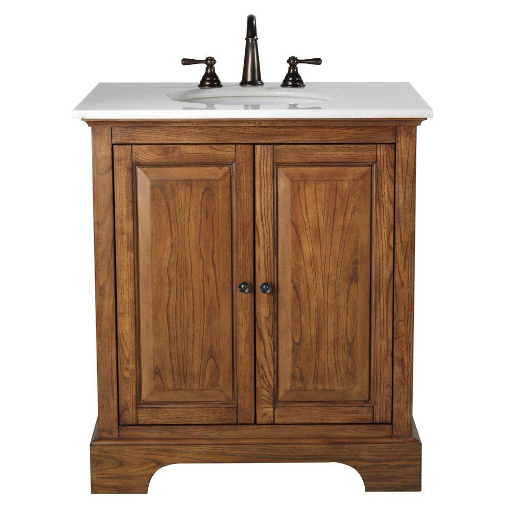 Home Decorators Collection Montaigne 31 in. Vanity in Weathered Oak Finish with Granite Vanity Top in Cream