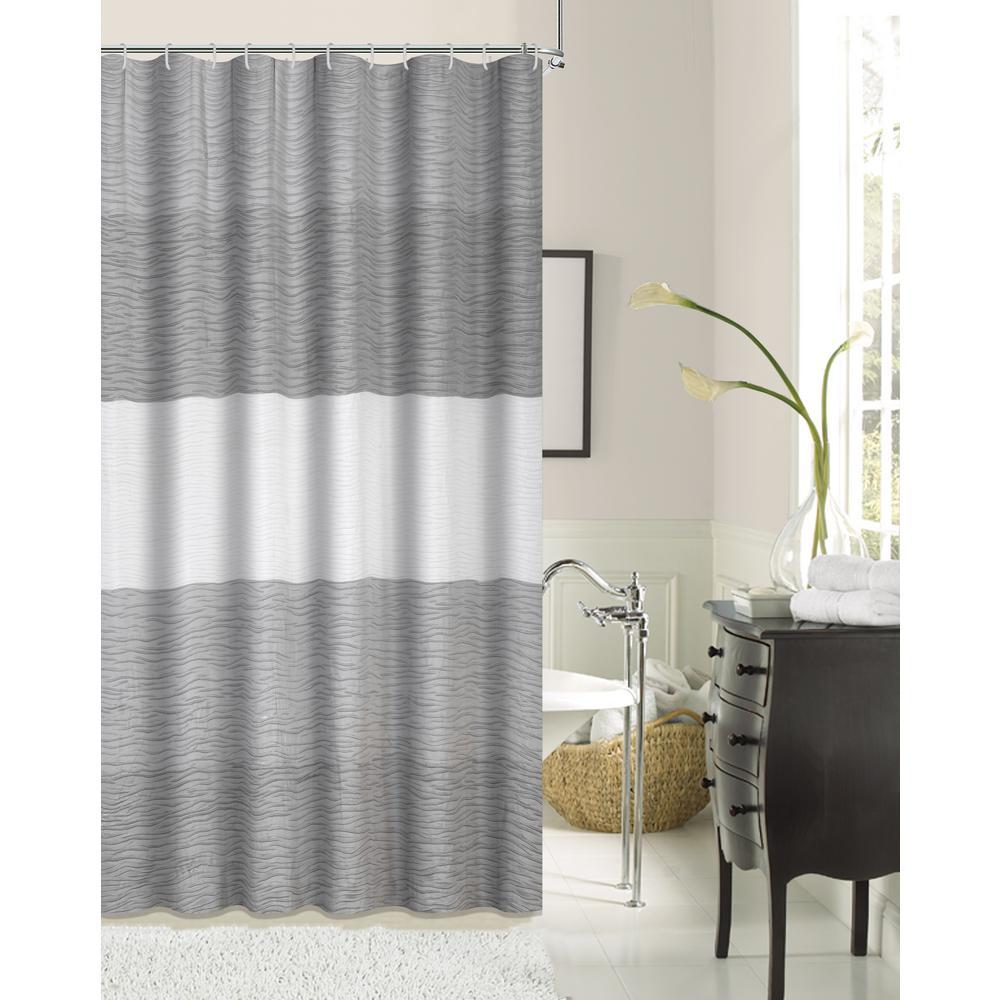 Ocean Wave 70 In Ivory Blue Silver Shrink Yarn Fabric Shower Curtain
