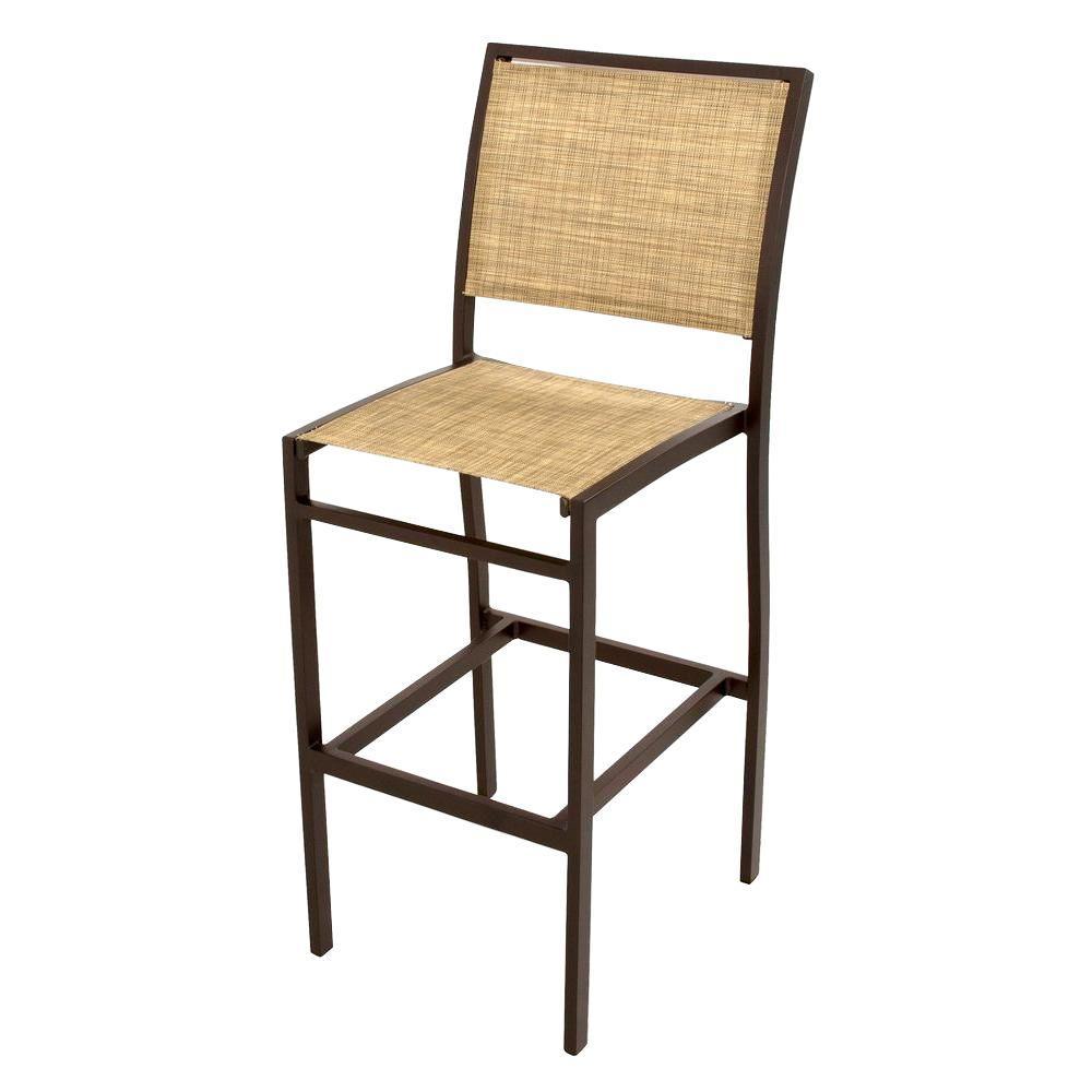 Bayline Textured Bronze/Burlap Sling Patio Bar Side Chair