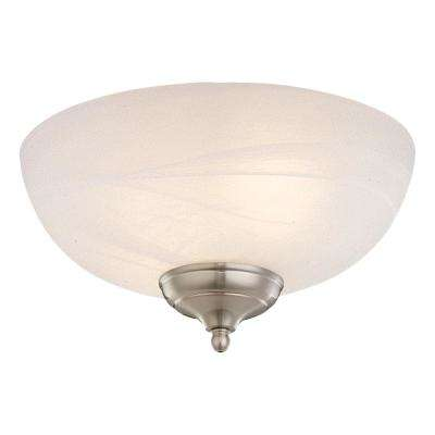 3-Light White Faux Alabaster Ceiling Fan Light Kit