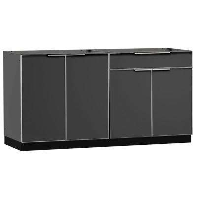 Slate Gray 2-Piece 64 in. W x 36.5 in. H x 24 in. D Outdoor Kitchen Cabinet Set on Casters without Counter Tops