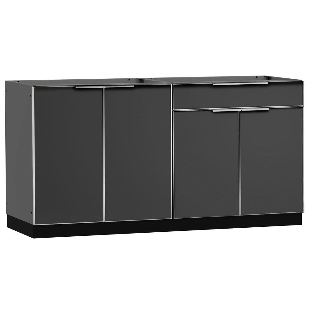 Newage Products Aluminum Slate 2 Piece 64x23x36 In Outdoor Kitchen Cabinet Set On Casters