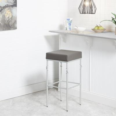 Gwyneth 24 in. Upholstered Charcoal and Silver Square Backless Metal Barstool