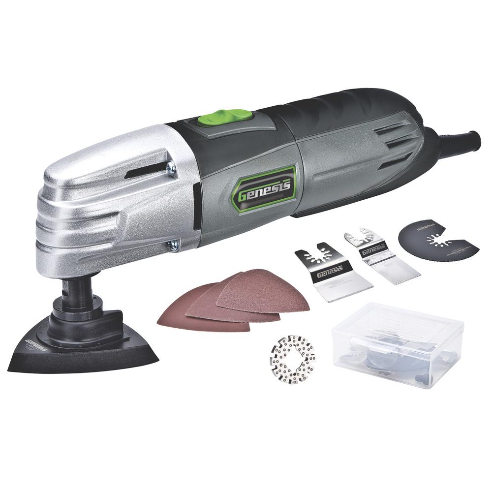 Genesis 1.5 Amp Multi-Purpose Oscillating Tool and 19-pc Universal Hook-And-Loop Accessory Set w/ Storage Box