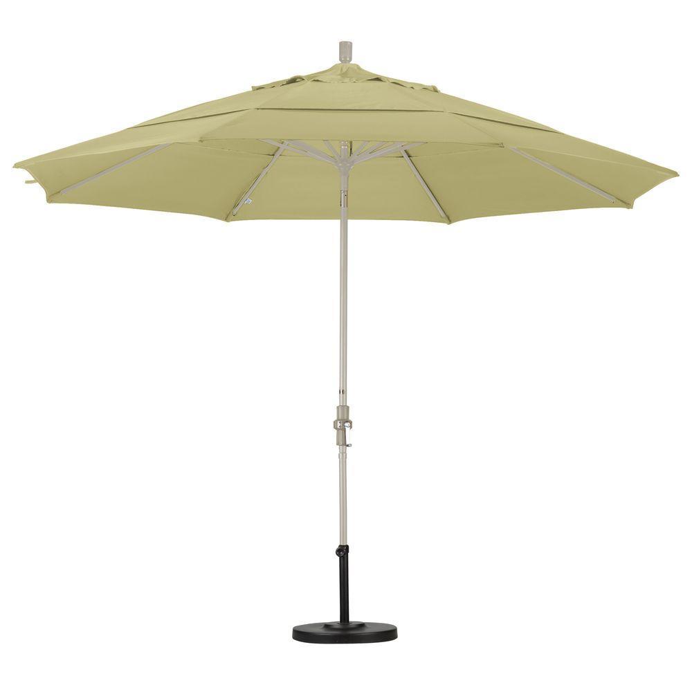 11 ft. Fiberglass Collar Tilt Double Vented Patio Umbrella in Antique