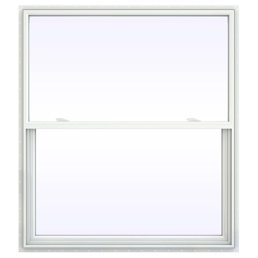 JELD-WEN 47.5 in. x 53.5 in. V-2500 Series Single Hung Vinyl Window - White