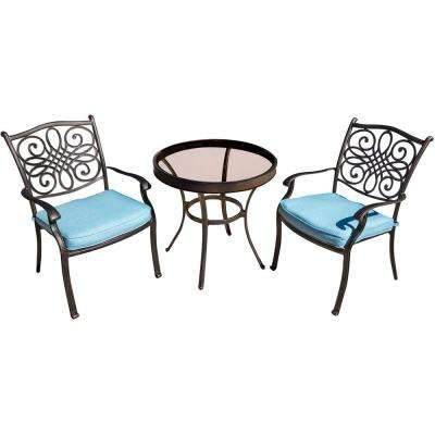 Seasons 3-Piece Aluminum Outdoor Bistro Set with Blue Cushions and 30 in. Glass-Top Table