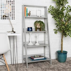 Deals on 55 in. Gray Wood 4-shelf Ladder Bookcase with Open Back