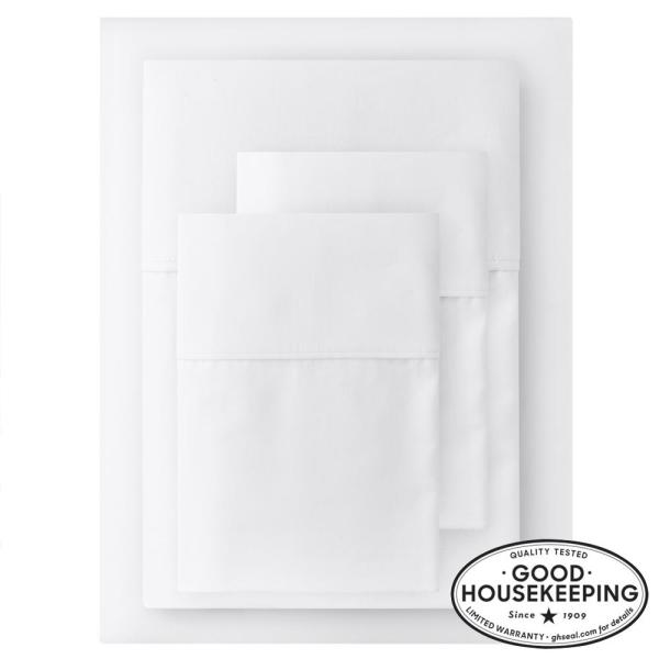 400 Thread Count Performance Cotton Sateen 4-Piece King Sheet Set in White