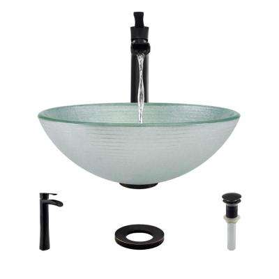 Glass Vessel Sink in Sparkling Silver with R9-7007 Faucet and Pop-Up Drain in Antique Bronze